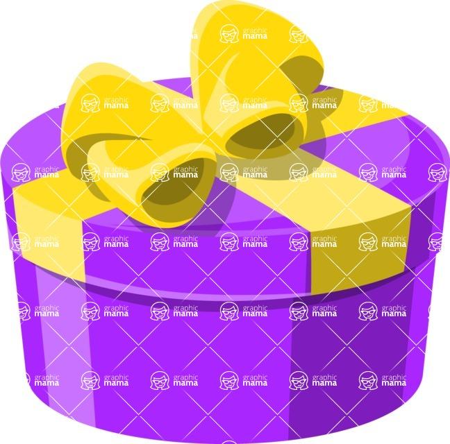 Christmas Vectors - Mega Bundle - Round Gift Box