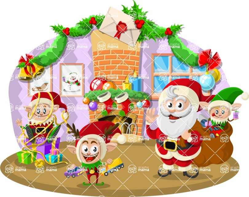 Christmas Vectors - Mega Bundle - Santa and Elves by the Fireplace