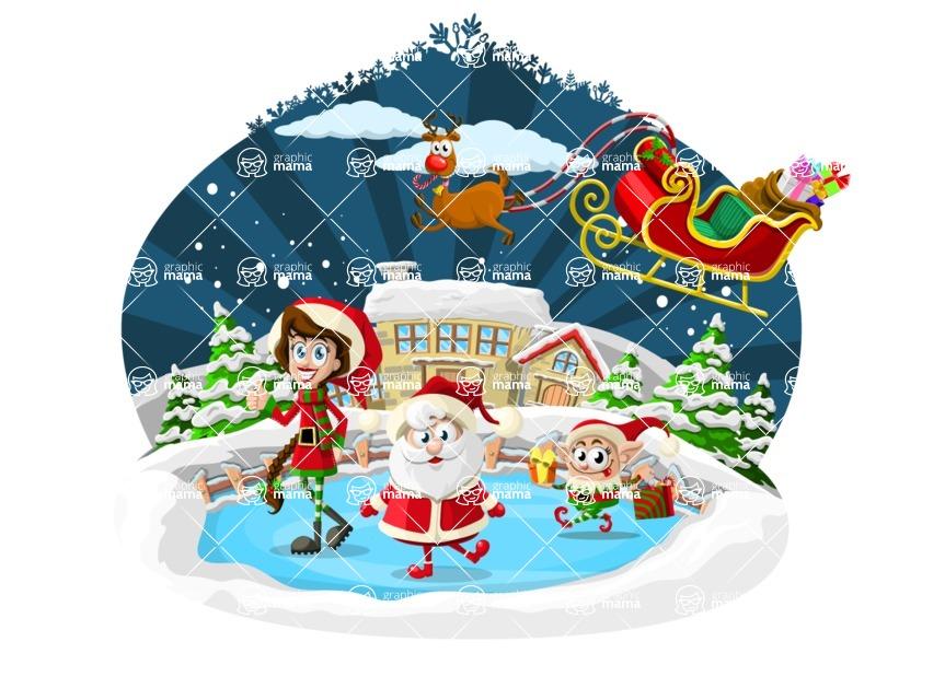 Christmas Vectors - Mega Bundle - Santa and Elves on Frozen Lake