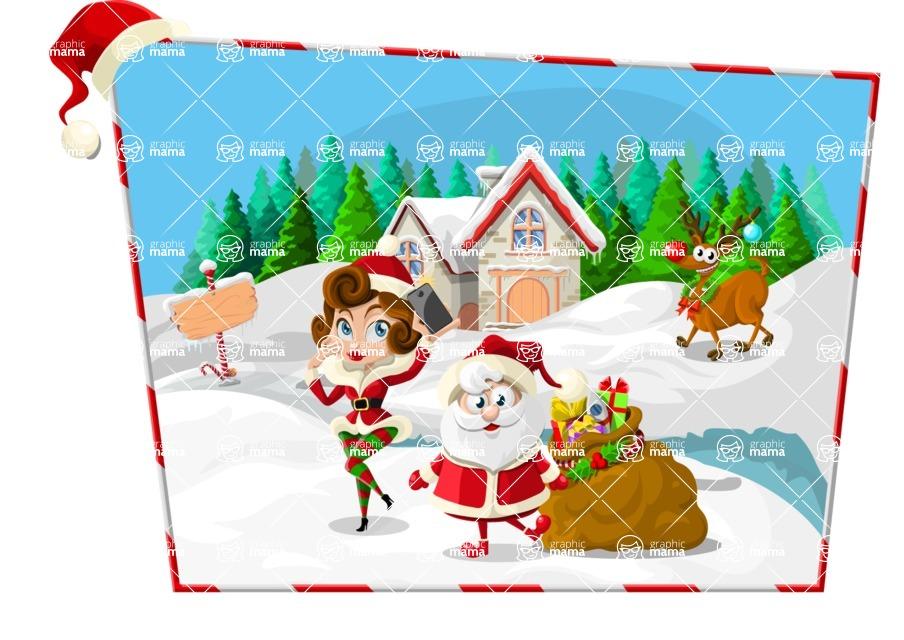 Christmas Vectors - Mega Bundle - Santa at North Pole