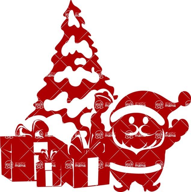 Christmas Vectors - Mega Bundle - Santa at the Christmas Tree Silhouette