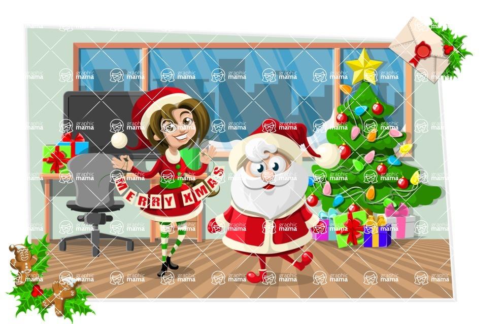 Christmas Vectors - Mega Bundle - Santa Claus in an Office