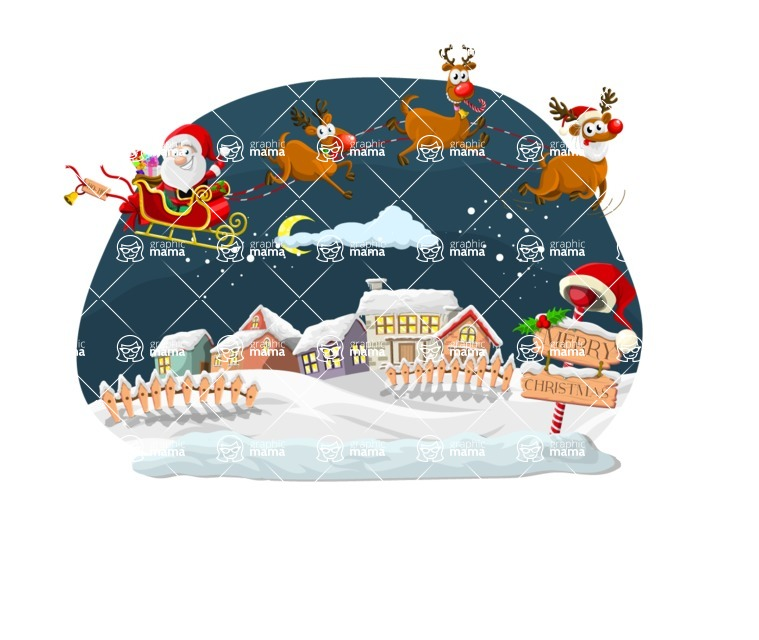 Christmas Vectors - Mega Bundle - Santa Flying With His Reindeer