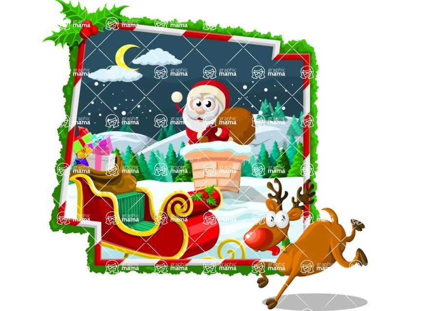 Christmas Vectors - Mega Bundle - Santa Going Into Chimney