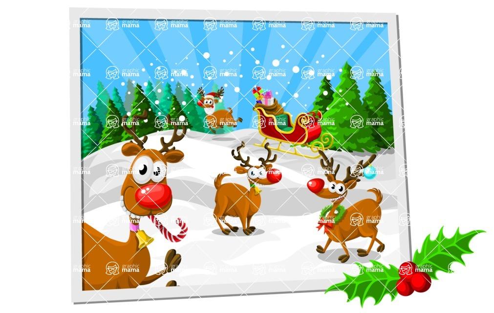 Christmas Vectors - Mega Bundle - Santa's Reindeer on the Snow