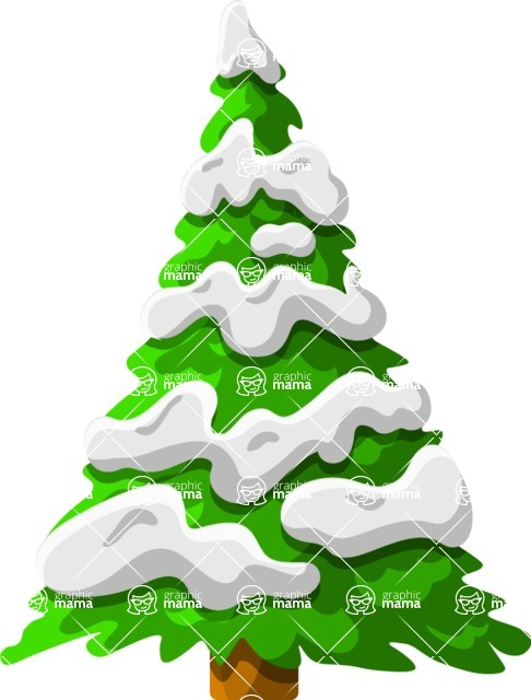 Christmas Vectors - Mega Bundle - Tree Covered in Snow