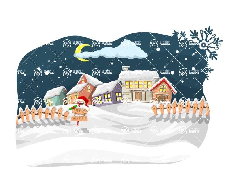 Christmas Vectors - Mega Bundle - Village During Winter Night