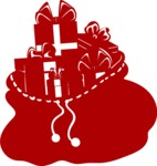 Christmas Vectors - Mega Bundle - Bag of Gifts Silhouette