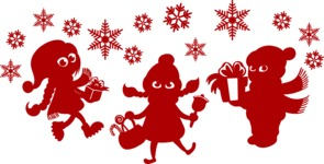 Christmas Vectors - Mega Bundle - Children in the Snow Silhouettes