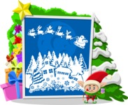 Christmas Vectors - Mega Bundle - Christmas Elf and Winter Scenery