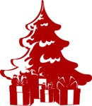 Christmas Vectors - Mega Bundle - Christmas Presents Under Tree Silhouette