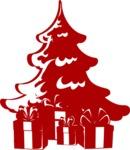 Christmas Vectors - Mega Bundle - Christmas Presents Under Tree Silhouette