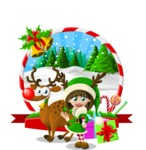 Christmas Vectors - Mega Bundle - Elf Girl and Reindeer