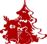 Christmas Vectors - Mega Bundle - Elf in front of Christmas Tree