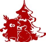 Christmas Vectors - Mega Bundle - Elf in front of Christmas Tree
