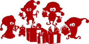 Christmas Vectors - Mega Bundle - Elves Around Christmas Presents