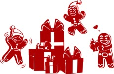 Christmas Vectors - Mega Bundle - Gingerbread Men Around Gifts Silhouettes