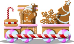 Christmas Vectors - Mega Bundle - Gingerbread Train Composition