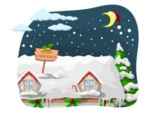 Christmas Vectors - Mega Bundle - House Roof Christmas Night Scenery