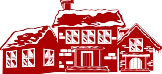 Christmas Vectors - Mega Bundle - Houses Covered in Snow Silhouette