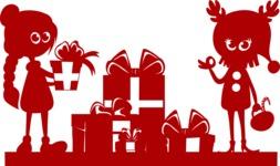 Christmas Vectors - Mega Bundle - Kids Around Gifts Silhouette