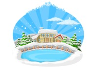 Christmas Vectors - Mega Bundle - Lake and Houses During Winter