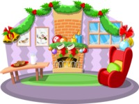 Christmas Vectors - Mega Bundle - Living Room on Christmas Eve