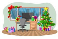 Christmas Vectors - Mega Bundle - Office Decorated for Christmas