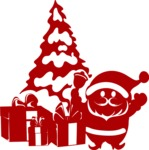 Christmas Vectors - Mega Bundle - Santa at the Christmas Tree Silhouette