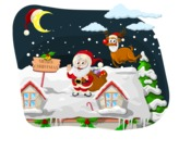 Christmas Vectors - Mega Bundle - Santa Claus on the Roof