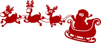 Christmas Vectors - Mega Bundle - Santa Flying With Sleigh Silhouette