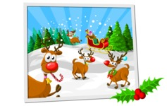 Christmas Vectors - Mega Bundle - Santa's Reindeer on the Snow