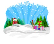 Christmas Vectors - Mega Bundle - Snowman and Gifts in the Snow