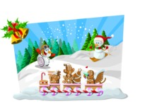 Christmas Vectors - Mega Bundle - Snowmen Having Fun On The Snow