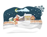 Christmas Vectors - Mega Bundle - Village During Winter Night