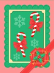 Christmas Card with Canes and Bows
