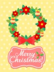 Card with Wreath and Christmas Flowers