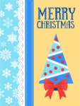 Christmas Card with Snowflakes and Tree