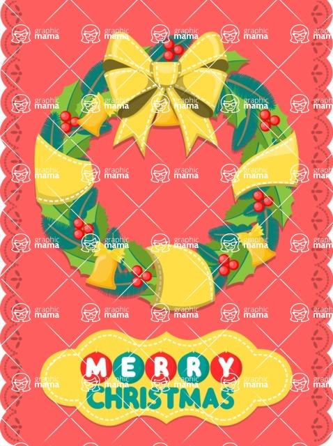 Christmas Card Vector Graphics Maker - Colorful Christmas Wreath Card