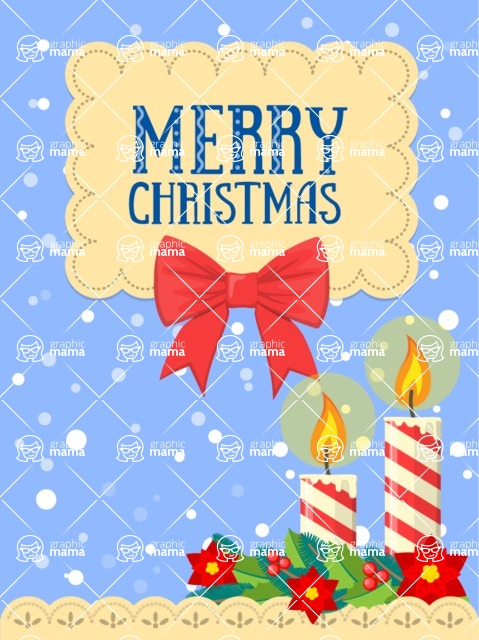 Christmas Card Vector Graphics Maker - Merry Christmas Card with Candles