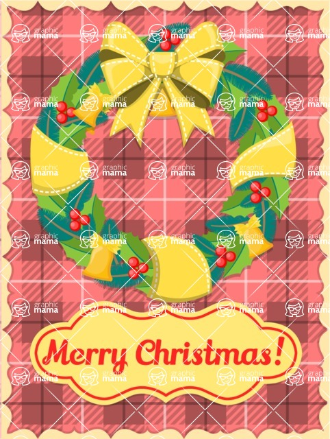 Christmas Card Vector Graphics Maker - Christmas Card Rustic Wreath