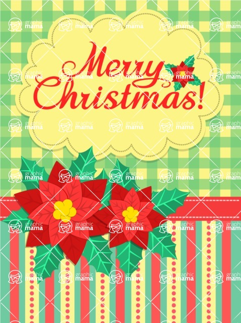Christmas Card Vector Graphics Maker - Christmas Flowers Greeting Card