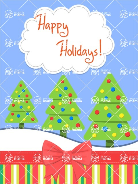 Christmas Card Vector Graphics Maker - Christmas Card Trees with Lights