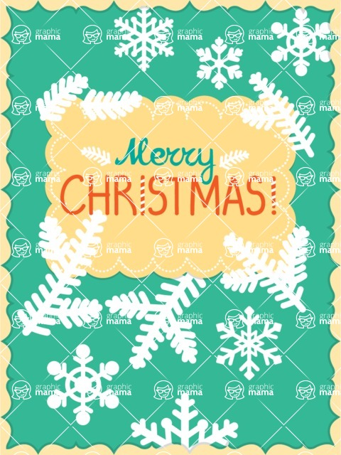 Christmas Card Vector Graphics Maker - Simple Greeting Card with Snowflakes