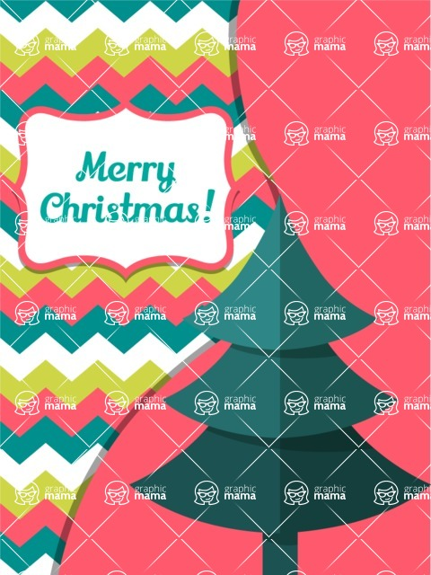 Christmas Card Vector Graphics Maker - Merry Christmas Card with Tree
