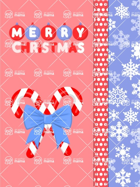 Christmas Card Vector Graphics Maker - Merry Christmas with Candy Canes