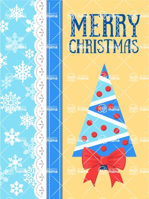 Christmas Card Vector Graphics Maker - Christmas Card with Snowflakes and Tree