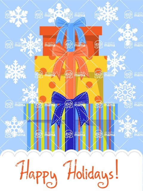 Christmas Card Vector Graphics Maker - Christmas Card with Presents