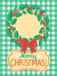 Christmas Card Vector Graphics Maker - Christmas Card with Wreath and Pattern