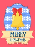 Christmas Card Vector Graphics Maker - Christmas Card with Golden Bell